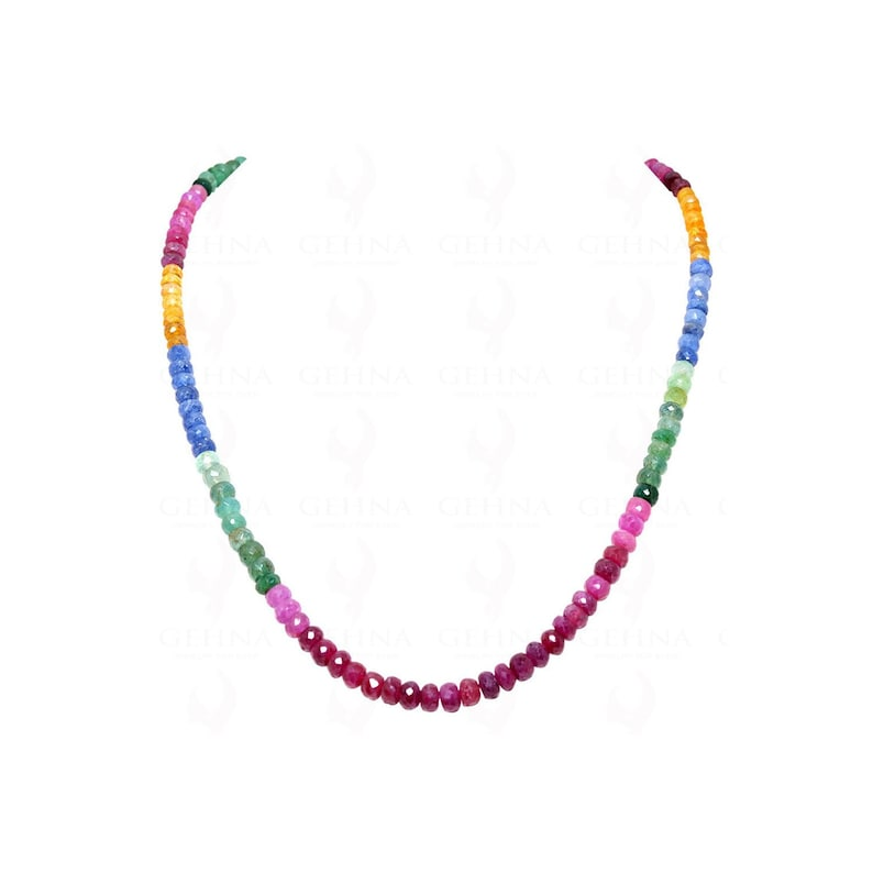 Ruby /& Sapphire Gemstone Round Faceted Beads Necklace NP1233 Emerald