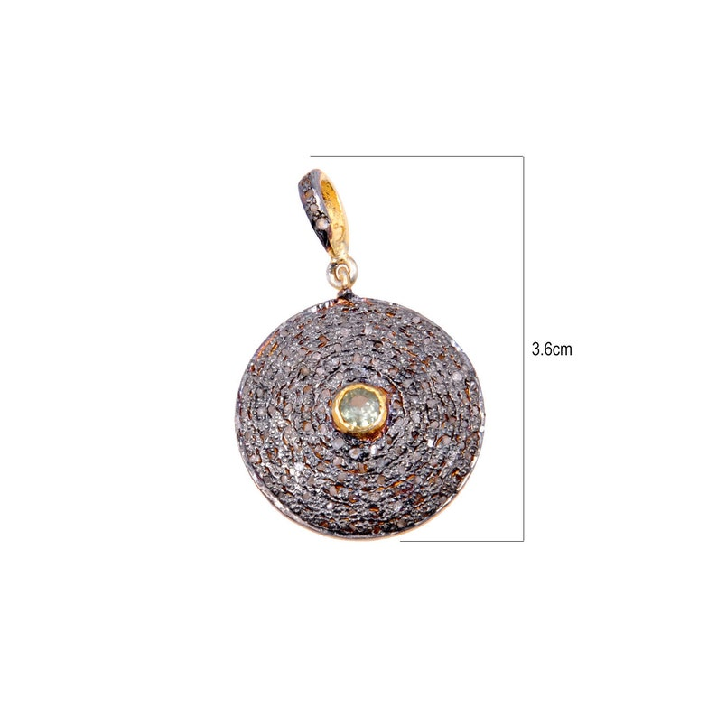 Pave Diamond /& Green Tourmaline Studded Round Pendant In Sterling Silver DP1045