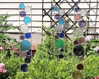 Stained Glass Garden Art Stake Flower Plants Garden Decor Metal Sculpture  Gift For Her Best Friend Gift Home Decor Garden Sculpture