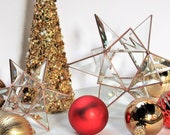 Christmas and wedding glass Moravian Star table centerpiece decoration. Two sizes, 3 finishes. Clear beveled stained glass.