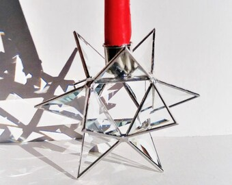 Stained glass Moravian Star beveled taper candle holder holiday decor accent handcrafted by Bello Glass. Gift for any occasion.