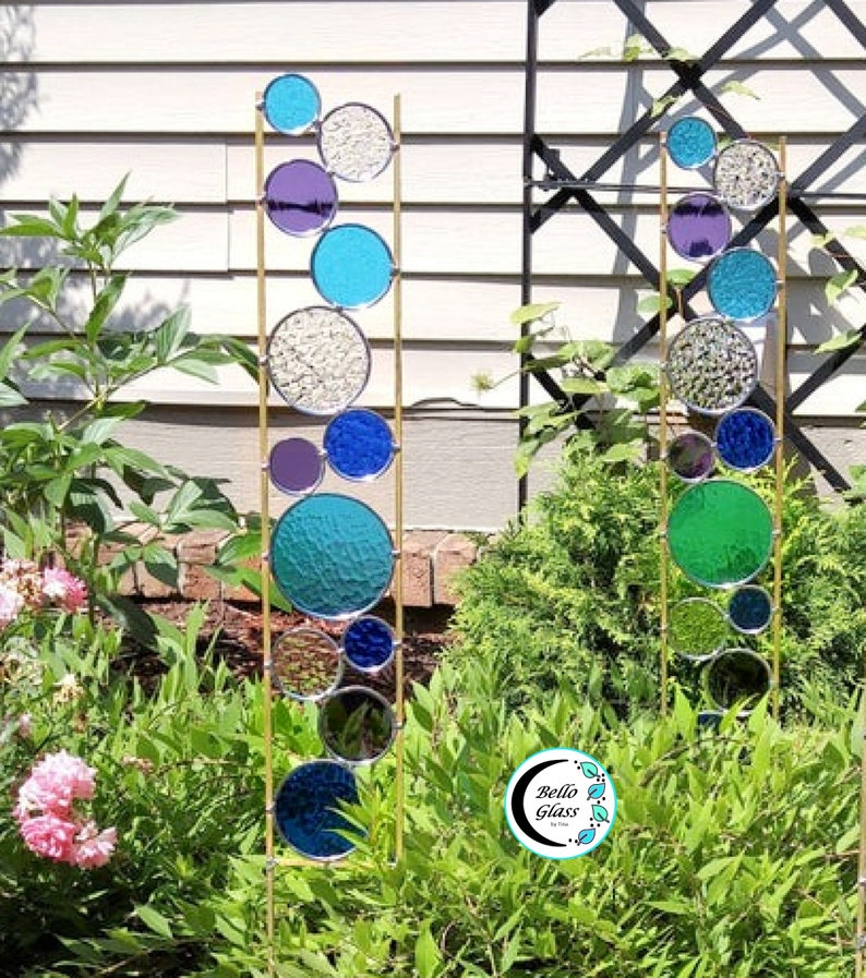 Tall Stained Glass garden art stake. Aqua purple and blue. image 0