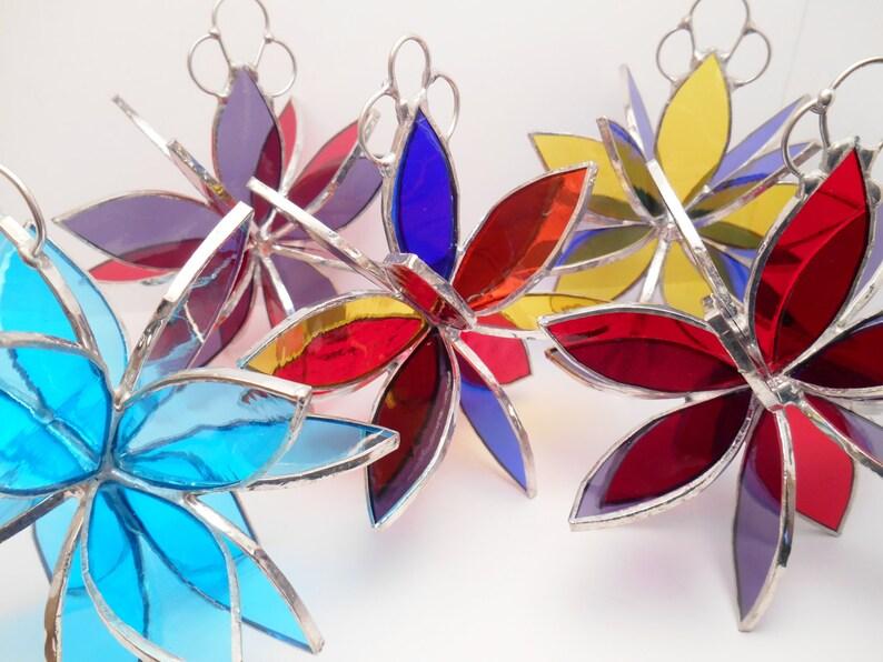 Stained glass flower garden art home decor yard decoration sun catcher glass sculpture gift for her housewarming gift wedding gift