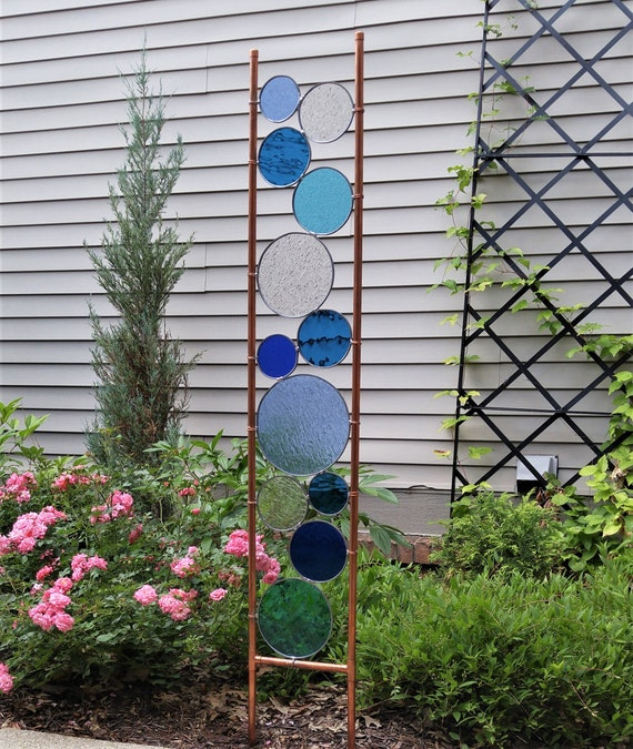 Superbe Stained Glass Garden Art Stake Tall Copper Sculpture. | Etsy