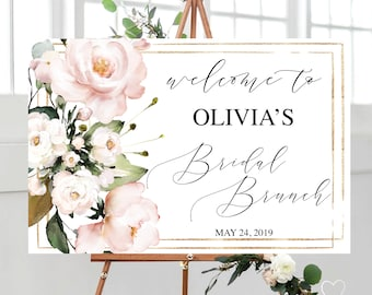 62a2ce1d5418 Blush floral bridal brunch sign