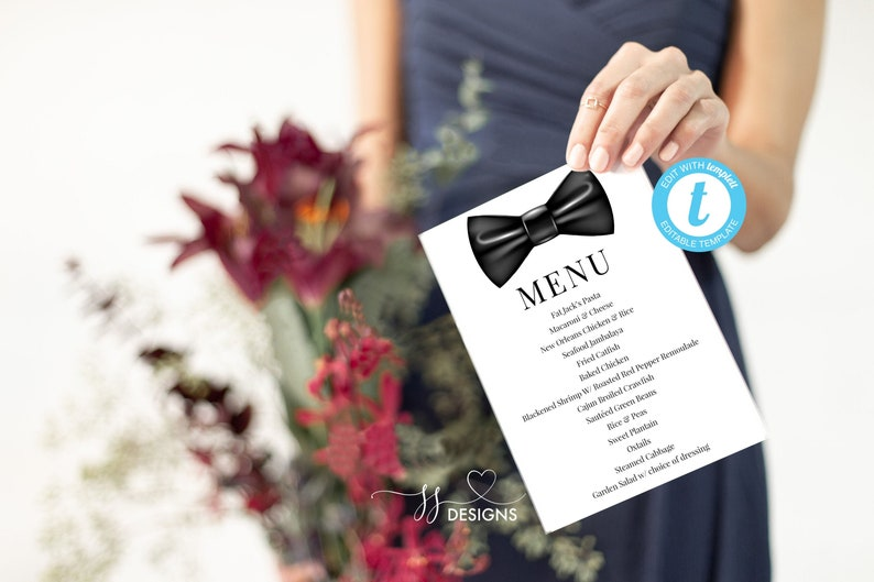 photograph relating to Newks Printable Menu referred to as Wedding day menu playing cards, bow tie printable menu, immediate down load, menu planner, menu template, supper menu, menu printable, minimalist menu