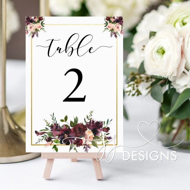Table Decor Table Numbers Burgundy Floral Numbers Table Settings