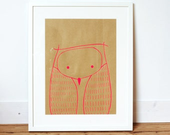Poster illustration screenprinted Neon pink Owl