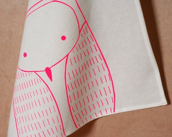 Owl Tea Towel - Screenprinted cotton dishcloth