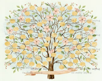 Watercolor Blank Family Tree DIY-you print and fill in the names! Instant Download
