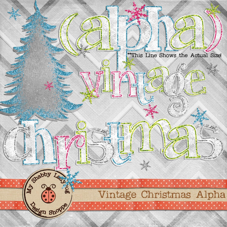 Vintage Christmas Digital Textured Paper & Glitter Alphabet