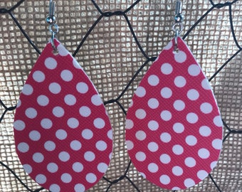 Pink Polka Dot Leather Earrings (small)