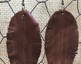 Cognac Feather Leather Earrings - Boho - Bohemian Style