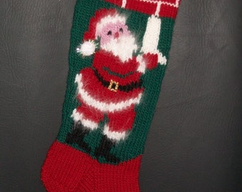 4a3bf434e Christmas Stocking Hand Knitted Custom Order Vintage Style Santa Hanging  Stockings
