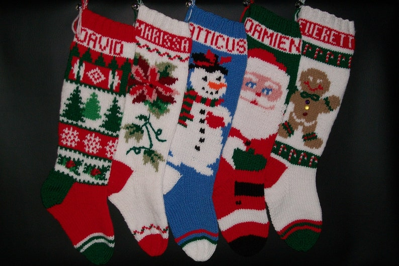 Christmas Stocking Hand Knitted Custom Order Personalized Santa