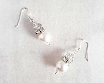 Swarovski Drop Earrings, Dangle Pearl Earrings, Crystal Earrings, Sterling Silver Earrings, Wedding Earrings, Bridal Earrings