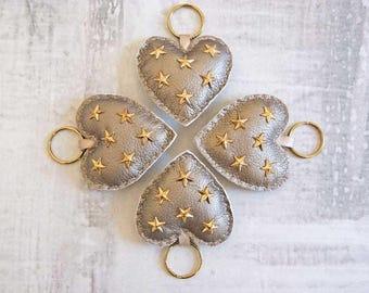 Studded Heart Keyring, Love Heart Keyring, Heart Key Charm, Faux Leather Keyring, New Home Gift, Fabric Keyring, Gold Keyring