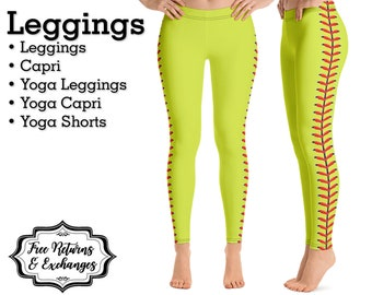 59be1a2bd2f7f Softball Laces Leggings • Womens Clothes; Yoga Pants, Capri or Shorts;  Workout Clothing Gift
