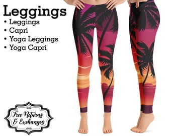 4b85c603816371 Tropical Sunset Summer Leggings • Hawaiian Palm Tree Womens Clothes; Yoga  Pants or Capris; Workout Clothing Gift