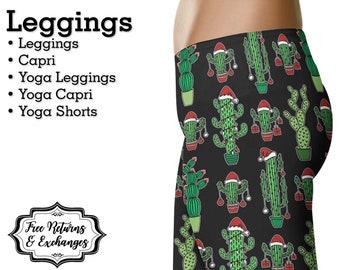 cactus christmas leggings womens clothes yoga pants or shorts workout clothing gift black