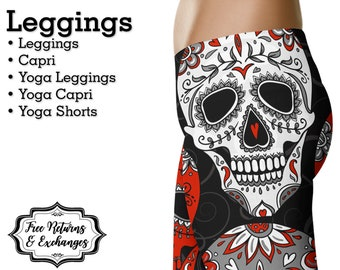 ce4aa6a2beb6e Sugar Skull Leggings, Yoga Pants • Day of the Dead Womens Clothing Gift;  Workout Clothes, Shorts • Red & Black