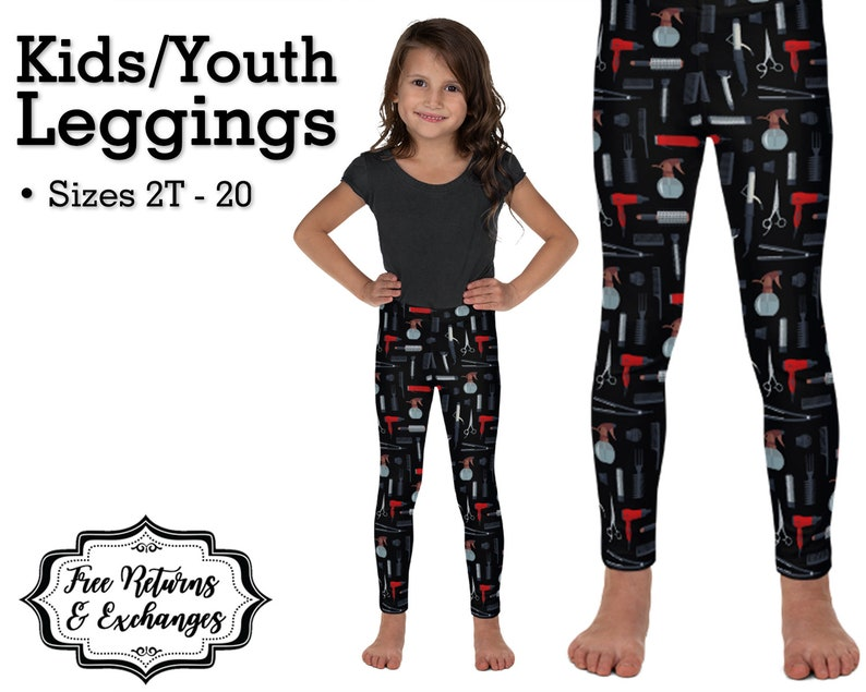 Kids Hair Stylist Leggings \u2022 Hairdresser Gift for Girl; Cosmetologist Kid Clothing; Cosmetology Toddler Pants; Clothes; Tights \u2022 Black