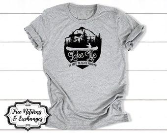 Lake Life - No Salty Beaches Allowed • Lake Shirt, Funny Graphic Tee, Funny Shirt, Camp Tshirt, Camping T Shirt, Lake Mode
