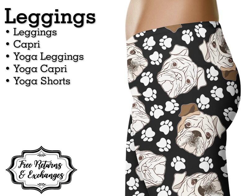 aad2866719ae8 English Bulldog Leggings Womens Clothes Yoga Pants Capri   Etsy