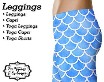 Mermaid Leggings, Yoga Pants, Capris • Yoga Leggings Workout Leggings Yoga Shorts Capri Womens Clothing Clothes Gift • Blue Fish Scale