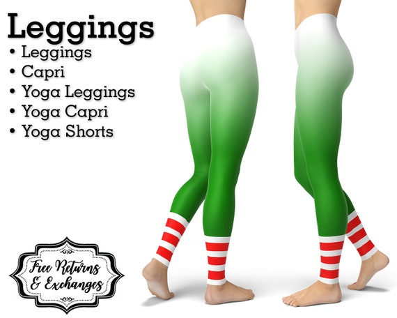 c46100ca11 Ombre Christmas Leggings Elf Womens Clothes Yoga Pants Or Etsy