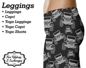 Plaid Offroad Leggings, Capris or Yoga Pants • Grey Plaid