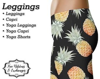 Pineapple Leggings, Yoga Pants, Capris • Workout Leggings, Yoga Leggings, Fruit Shorts, Pineapple Womens Clothing, Clothes, Gift • Black