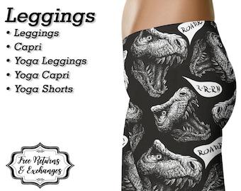 T Rex Dinosaur Leggings, Yoga Pants, Capris • Tyrannosaurus Rex Workout Leggings, Yoga Leggings, Shorts, Womens Clothing, Clothes, Gift
