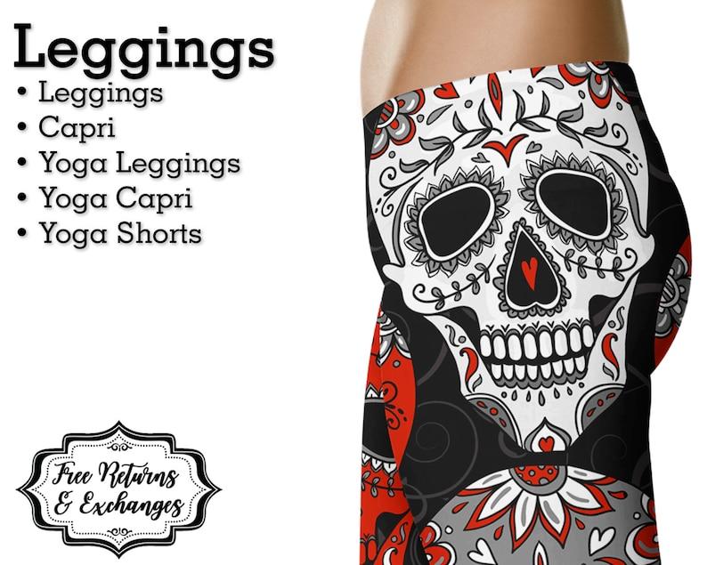 253c63fd0c819 Sugar Skull Leggings Yoga Pants Day of the Dead Womens | Etsy