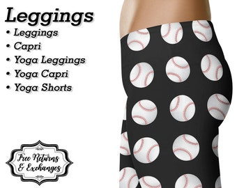 Baseball Leggings, Yoga Pants, Capris or Shorts • Black with Baseballs