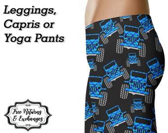Plaid Offroad Leggings, Capris or Yoga Pants • Blue Plaid