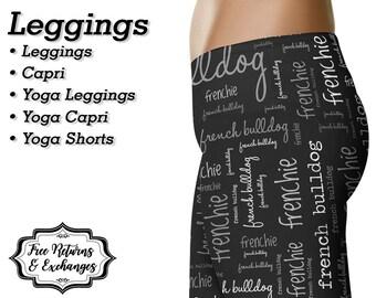 French Bulldog Leggings, Yoga Pants, Capris • Frenchie Mom, French Bulldog Mom Gift, French Bulldog Clothing, Womens Clothes, Shorts • Grey