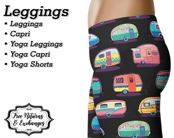 Camper Leggings, Yoga Pants, Capris • Travel Trailer Retro Camper Trailer RV Camp Camping Shorts Womens Clothing Clothes Workout Gift