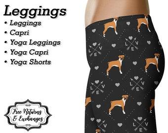 Boxer Love Leggings, Yoga Pants, Capris • Dog Mom Yoga Leggings, Workout Leggings, Yoga Capris, Yoga Shorts, Womens Clothing, Clothes, Gift