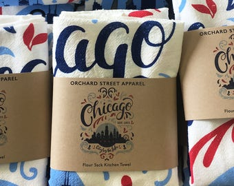 765d6560 Chicago Flourish City By The Lake flour sack towel. Illinois, midwest, tea  towel made in the USA with eco-friendly inks.