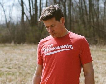 Wisconsin Retro Club Script Vintage Red Triblend Unisex T-Shirt. Slim fit tee for Men Women. Madison Midwest Pride.