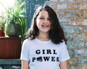 5ff9ded5 Girl Power Vintage Unisex Toddler T-Shirt. White Kids Triblend Tee. Girls,  boys, feminist tee.
