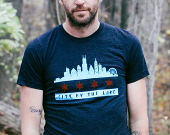 Chicago Skyline Flag Triblend Black Unisex T-shirt. Vintage Soft Illinois Shirt Men's Slim Fit and Women's Tee. Cityscape midwest pride