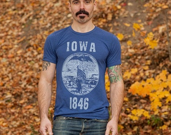c2b3d21a Iowa State Seal T-Shirt. Vintage Style Soft Retro Midwest Shirt Unisex  Men's Slim Fit and Women's Tee