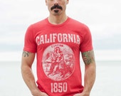 California State Seal T-Shirt. Vintage Style Soft Retro West Coast Shirt Unisex Men 39 s Slim Fit and Women 39 s Tee