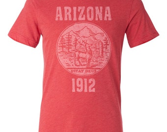 65640a38 Arizona State Seal T-Shirt. Vintage Style Soft Retro Arizona Shirt Unisex  Men's Slim Fit and Women's Tee