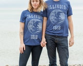Illinois State Seal T-Shirt. Vintage Style Soft Retro Midwest Shirt Unisex Men 39 s Slim Fit and Women 39 s Tee