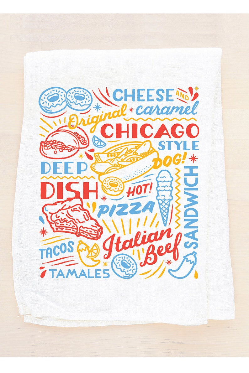Magnificent Chicago Sign Flour Sack Towel Food Drinks Illinois Hot Dog Italian Sub Deep Dish Pizza Tea Towel Made In The Usa With Eco Friendly Inks Download Free Architecture Designs Itiscsunscenecom