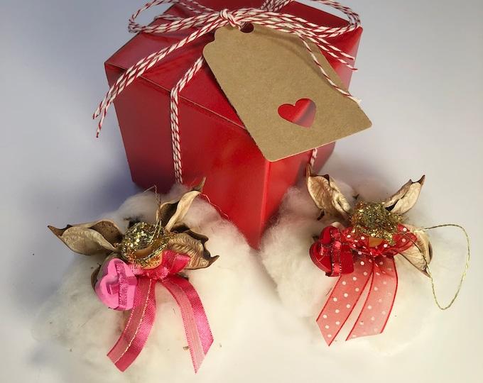 Heart Angel, Pink, Valentine Ornament, Gift for her, Farmhouse Wedding, Rustic Decor, Cotton Anniversary, Wedding Ornament, Romantic Angel