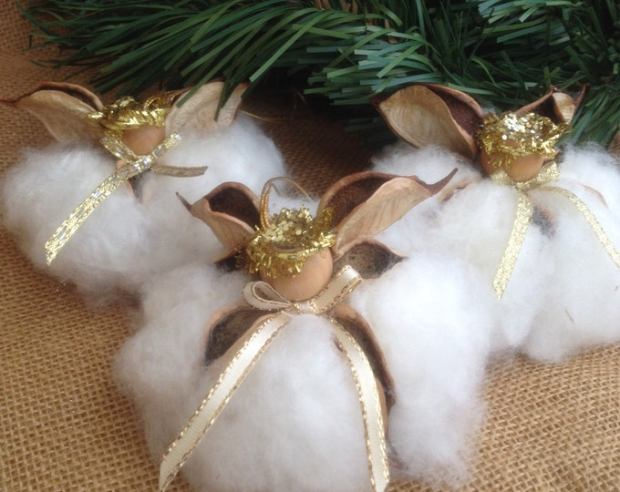 "Gold ""Original Cotton Angels"", Southern Christmas gifts, Southern Angel Ornament, Farmhouse decor, Rustic Decor, Cotton Boll Angels"